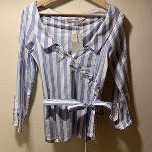 Zara open neck striped blouse